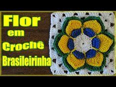 ▶ Passo a passo Flor Crochê Brasileirinha - Professora Simone - YouTube