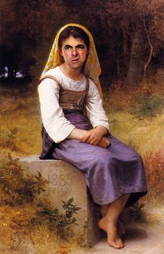 William-Adolphe Bouguereau Painting Reproductions For Sale - Page 2 Mr Bean Drôle, Funny Art, Funny Memes, Mr Bean Funny, Mr Bean Memes, Famous Portraits, William Adolphe Bouguereau, Face Swaps, Caricature Artist