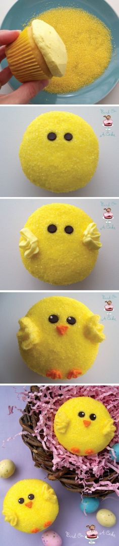 Easy to make Chick cupcakes, vanilla with vanilla, then dip in yellow sprinkles! Add chocolate chip eyes, frosting wings, re-dip in the sprinkles and add a little orange nose and frosting then dipped in orange sprinkle feet!