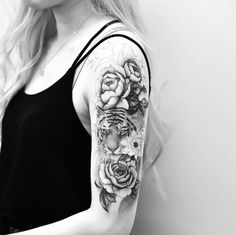 Tiger and peonies by Drag Ink