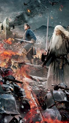 The Hobbit: The Battle of the Five Armies Tapestry close up, Bilbo and Gandalf. The Hobbit Movies, O Hobbit, Gandalf, Legolas, Thranduil, Fellowship Of The Ring, Lord Of The Rings, Narnia, Desolation Of Smaug