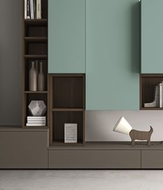 Módulo de arrumação de parede secional lacada com suporte para TV SLIM 87 Coleção Slim by Dall'Agnese | design Imago Design, Massimo Rosa