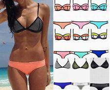 Damen Bikini Triangle Badeanzug Bademode Bandeau Schwimmanzug Push Up S-L JO