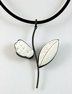 Winter White Pendant.  Oxidized Sterling Silver and patterned Polymer Clay.
