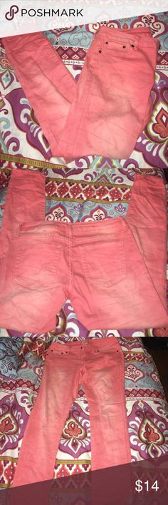 Pink Forever 21 Ripped Jeans Can make any summer outfit pop this season! Really comfy, stretchy material, with some small rips threw out that were there when I bought them!! No stains or signs of wear! They almost have an ombré effect to them Forever 21 Jeans Ankle & Cropped