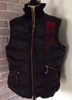 Harley Davidson Women's Black Puffer Vest w Red Embroidered Zip Front Small | eBay