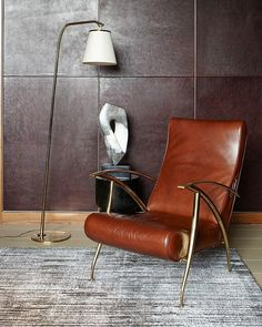 masculine decor + bachelor pad + mid-century modern + leather chair + Tribeca NYC #8thandsupreme
