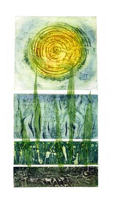 Sue Lowe 'Seasons I' hand printed collagraph with chine colle Collagraph Printmaking, Printmaking Ideas, Spring Term, Anselm Kiefer, Gelli Printing, Woodblock Print, Painting Techniques, Wood Print, Mixed Media Art