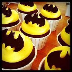 logo out of chocolate cupcak topper, batman cupcak, bat logo, cupcake toppers