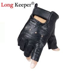 100/% Lamb Skin Leather woman Half Finger Motorcycle Driving Gloves gym
