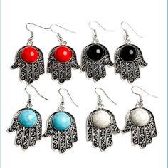 •P a l m E a r r i n g s• Dangle earrings, brand new!!! In packaging. So cute on.  pick your color! Black, red, turquoise, or white!. I will make a separate listing for you. Do not purchase this one. Bundle 2 or more items save 15%!! Jewelry Earrings