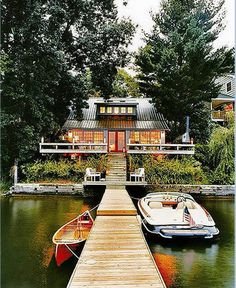 I'd make a bit of a wider dock...so you can get your muskoka chairs and martinis right on it!! but I like how you can see the water from the cottage, with an upper deck and then a lower space