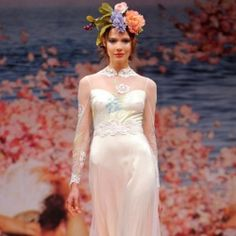 Photos fresh from the runways of Bridal Fashion Week. Check out Claire Pettibone's new boho elegant creations. Photo by FirstView.