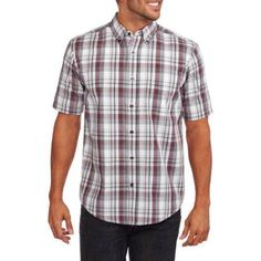 George Men's Short Sleeve Plaid Woven Shirt, Size: Medium, Multicolor