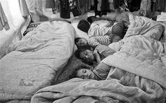 Syrian children sleeping inside their family's tent in the Bekaa Valley, #Lebanon