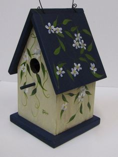 Blossoms Decorative Birdhouse Painted by Jimmie. $35.00, via Etsy.: