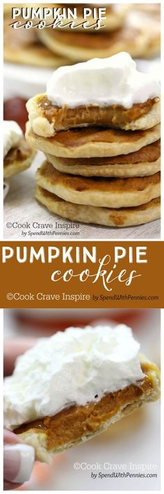Pumpkin Pie Cookies! <3 COOK CRAVE INSPIRE by SpendWithPennies.com  These delicious little cookies have a flaky little crust filled with a creamy pumpkin pie filling!  Easy to make and totally irresistible!