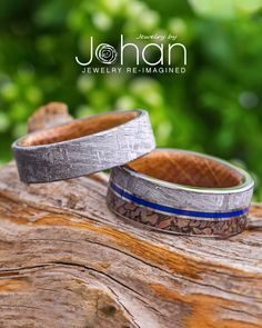 Jewelry by Johan handcrafts all their wedding band designs with exotic materials: from meteorite and dinosaur bone to whiskey barrel oak wood. #JewelrybyJohan Meteorite Wedding Band, Gibeon Meteorite, Dinosaur Bones, Ring Crafts, Wedding Bands, Wood, Leather, Jewelry