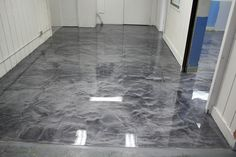 Metallic Epoxy Floor with Polyaspartic Top-coat in Box Manufacturing Plant. - Contai - Metallic Epoxy Floor with Polyaspartic Top-coat in Box Manufacturing Plant. Stained Concrete, Concrete Floors, Epoxy Concrete, Decorative Concrete, Epoxy Floor Basement, Garage Epoxy, Garage Flooring, Rv Garage, Dream Garage