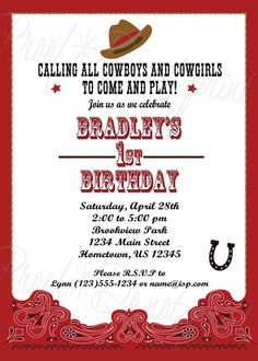 DIY PRINTABLE - Personalized Western Cowboy Party Invitations $12.00