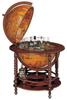 1000 images about world map decor nautical on pinterest for 16 inch floor old world bar globe cart