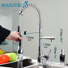kitchen chrome plated brass faucet single handle pull-out pull down sink mixer hot and cold tap modern design