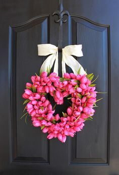 Heart Spring wreath  Valentines Day Wreath Tulips by OurSentiments, $75.00