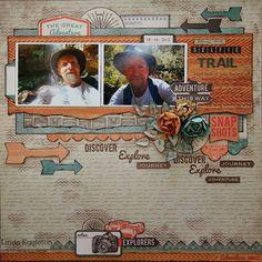 "Echo Park "" Capture Life"" & Kaisercraft ""Outdoor Trail"" - By Linda Eggleton Scrapbook Sketches, Scrapbook Page Layouts, Scrapbook Pages, Journey Journey, Multi Photo, Echo Park, Travel Scrapbook, Layout Inspiration, Happy Birthday Cards"