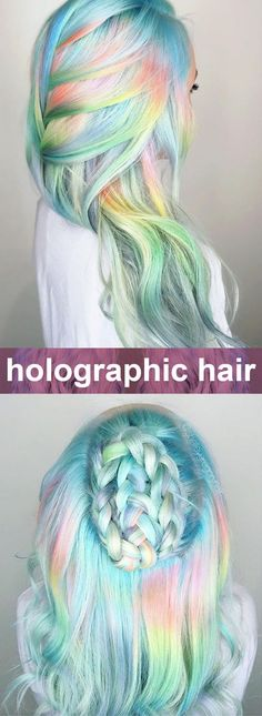 Blue yellow pink holo hair - soft metallic pastel ~~ Holographic hair coloring explained. How to do it? What is it? The best holo opal hair makeup examples