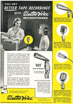 1953 ad for the electro voice 635 646 650 654 and 655 1956 ad for electro voice microphones in reel2reeltexas com s vintage recording collection