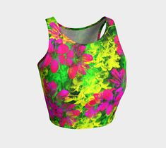 Flowers Chaos crop top, Athletic Crop Top by Tracey Lee Everington . Printed athletic crop tops to work out in style Athletic Crop Top, Top Flowers, Artwork Design, Art Designs, Crop Tops, Workout, Clothing, Prints, Shopping