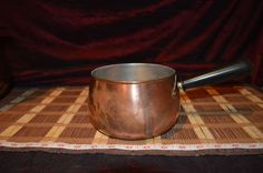 "Vintage Copper Pot With Brass and Plastic Black Handle 10 1/4""x4"""