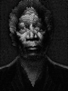 """""""I'm God. what I mean is that  God exists in you, not outside you.""""Morganfreeman portrait made out of 3D cubes-Women-Nude.Dimension 80 x60 Inches-Canvas"""