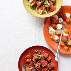 Tomato Watermelon Salad    A fun salad that is also a delicious and healthy summer treat.