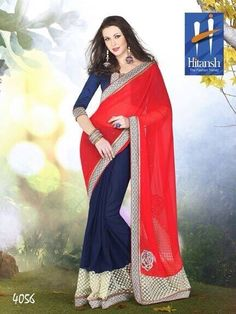 Product not found! Georgette Sarees, Chiffon, Sari, Wednesday, Red, Fabrics, Blue, Facebook, Design