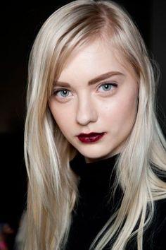 blonde & bold burgundy lip