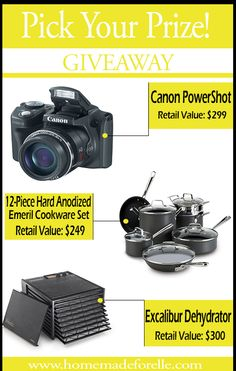 Pick your prize! Win a Canon camera, Emeril Cookware Set or a Dehydrator.  Ends 04/16/14