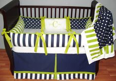Carrington Navy & Lime Bedding This custom 3 pc baby crib bedding set… Baby Boy Rooms, Baby Boy Nurseries, Baby Cribs, Baby Room, Baby Crib Bedding Sets, Crib Sets, Striped Bedding, Green Bedding, Everything Baby