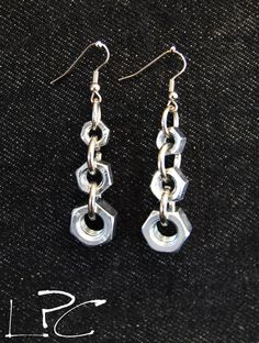 ORECCHINI/earrings realizzati con dadi minuteria da ferramenta hardware bolts