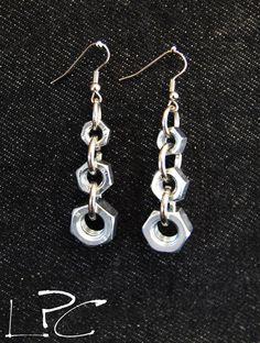 ORECCHINI/earrings realizzati con dadi minuteria da ferramenta hardware bolts
