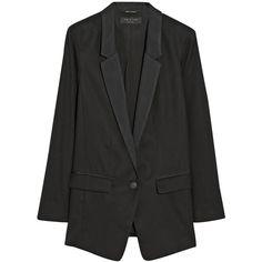 Rag & bone Ines oversized wool blazer (3.145 NOK) ❤ liked on Polyvore featuring outerwear, jackets, blazers, black, slim fit jacket, oversized jacket, black wool blazer, black slim jacket en black slim fit blazer