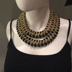 """Black beaded layered necklace set Glass beaded layered bib necklace set. Length is 15"""" + 3"""" extension. Drop earring 1 1/4"""" fish hook ear wire Lewboutiquetwo Jewelry Necklaces"""