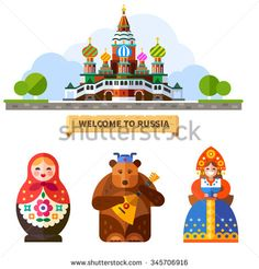 Welcome to Russia! Saint's Basil Cathedral on the Red Square in Moscow, matreshka doll, Russian bear with balalaika in hat, happy Russian woman in traditional dress. Flat vector illustration.