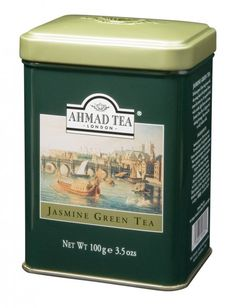 Ahmad Tea Jasmine Green Tea tin ... green rectangular tin with artwork of harbour on the front, c. 2000s, UK