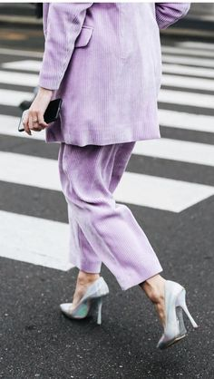 lilac heaven, lilac color corduroy two piece set pants and blazer, thick corduroy wide leg cropped pants and blazer set, Lila Outfits, Purple Outfits, Fashion Models, Fashion Outfits, Womens Fashion, Fashion Trends, Mode Purple, Looks Style, My Style