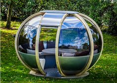 The NEW Oval House pod offers unique qualities of being a dinning, lounging, study and entertaining environment for eight guests. Garden Patio Sets, Home And Garden, Garden Pods, Garden Spheres, Oval Table, Dining Table, Small Coffee Table, Adjustable Table, Garden Buildings