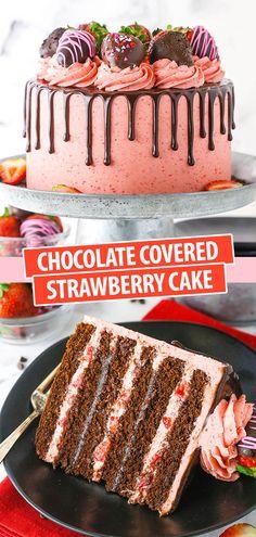 yummy cakes birthdays chocolate ganache Chocolate Covered Strawberry Layer Cake - layers of moist chocolate cake, strawberry buttercream, chopped strawberries and chocolate ganache! Strawberry Layer Cakes, Chocolate Strawberry Cake, Chocolate Drip Cake, Strawberry Cake Recipes, Strawberry Buttercream, Chocolate Strawberries, Chocolate Ganache, Chocolate Recipes, Ganache Cake
