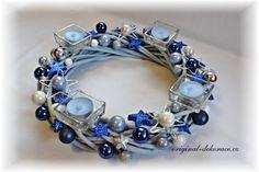 Vánoční (adventní) věnec - ratan, sv. modrý, - modrý
