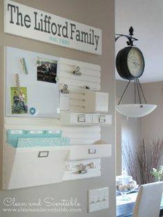 60+ ways to organize your kitchen, innovative ideas with short project descriptions and linked diy tutorials! Shown: Kitchen Command Center