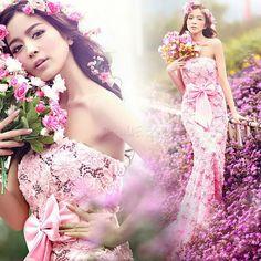 Trumpet/Mermaid Bowknot Floor-Length Strapless Wedding Dress 10521247 - Trumpet/Mermaid Wedding Dresses - Dresswe.Com